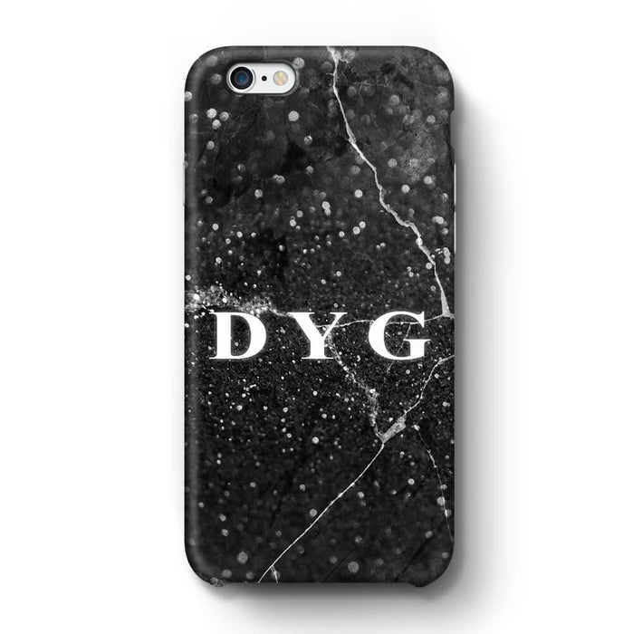 Dark Marble With Initials iPhone 6 3D Custom Phone Case black