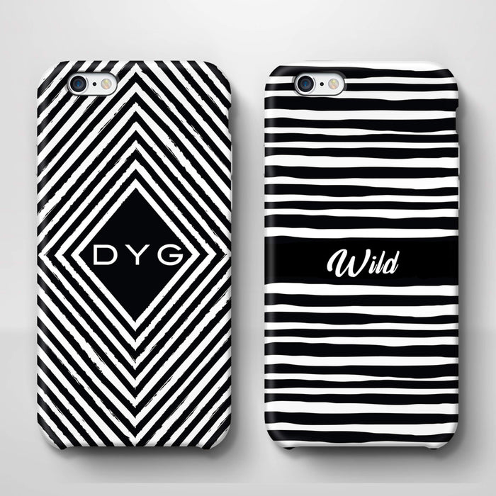 Black & White Patterns with Initial iPhone 6 3D Custom Phone Case variants
