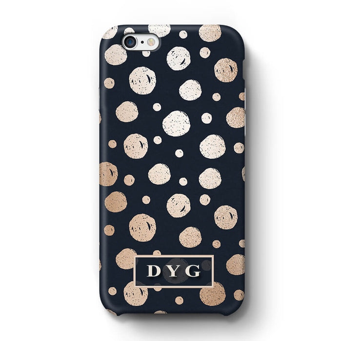 Glossy Dots With Initials iPhone 6 3D Custom Phone Case black