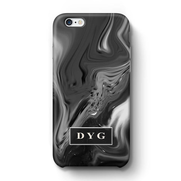 Liquid Marble With Initials iPhone 6 3D Personalised Phone Case black