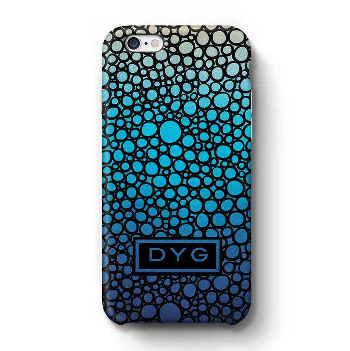 Bubbles Hollow with initials iPhone 6 3D Personalised Phone Case blue lagoon
