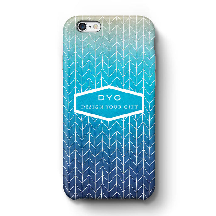 ZigZag Ombre With Text iPhone 6 3D Personalised Phone Case blue lagoon