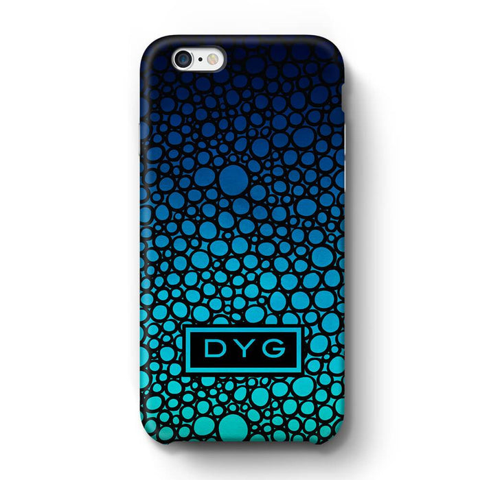Bubbles Hollow with initials iPhone 6 3D Personalised Phone Case Blue Sea