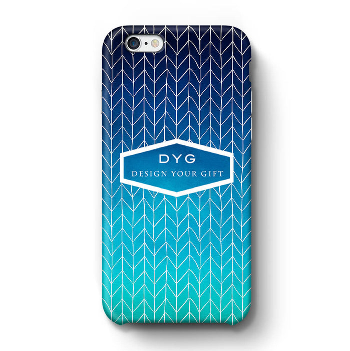 ZigZag Ombre With Text iPhone 6 3D Personalised Phone Case blue sea