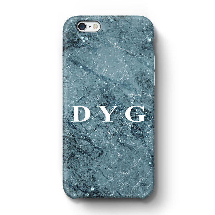 Sparkle Marble With Initials iPhone 6 3D Personalised Phone Case blue