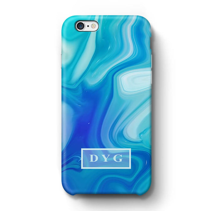 Liquid Marble With Initials iPhone 6 3D Personalised Phone Case blue