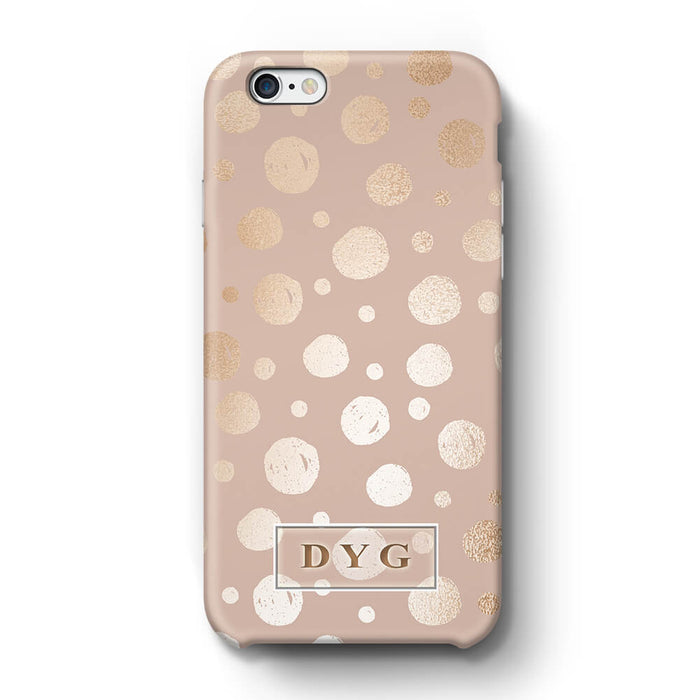 Glossy Dots With Initials iPhone 6 3D Custom Phone Case champagne