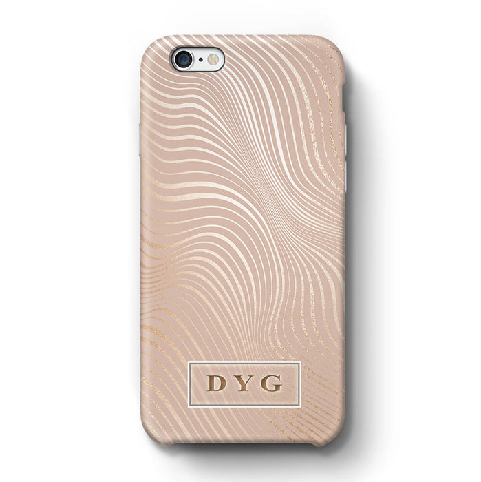 Glossy Waves With Initials iPhone 6 3D Custom Phone Case Champagne