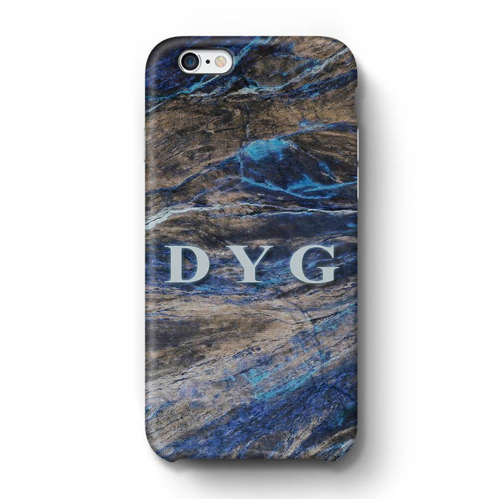 Dark Marble With Initials iPhone 6 3D Custom Phone Case earthy blue