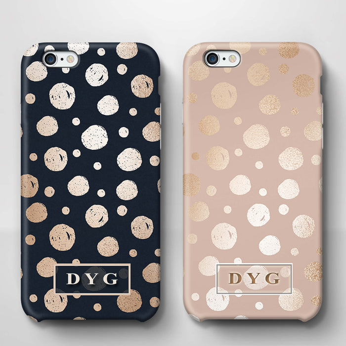 Glossy Dots With Initials iPhone 6 3D Custom Phone Case variants