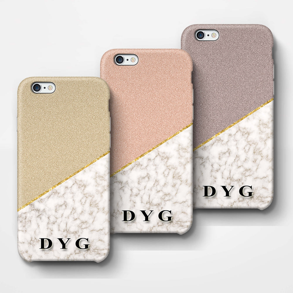 Gold Marble & Glitter With Initials iPhone 6 3D Custom Phone Case Variants