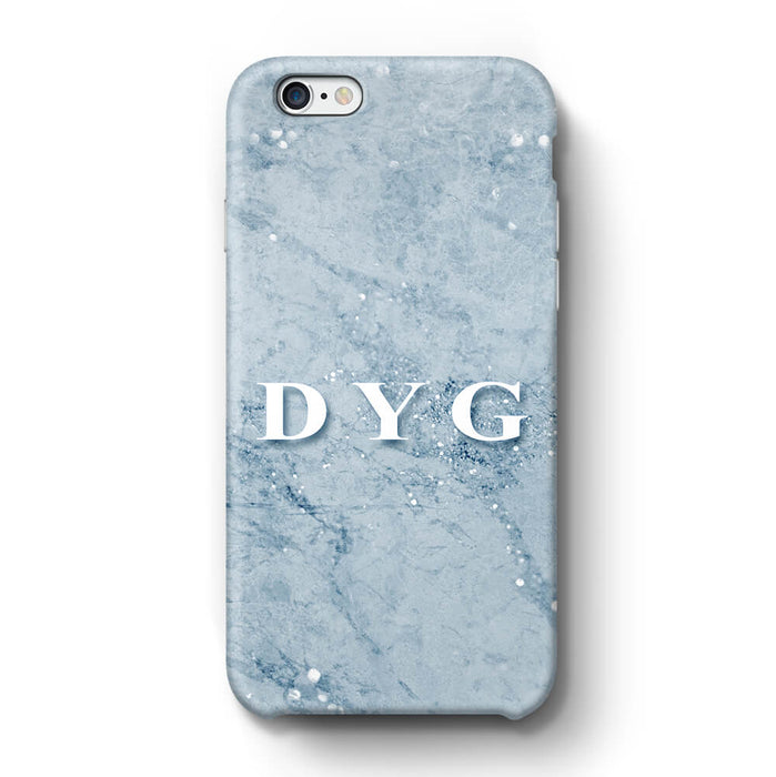 Sparkle Marble With Initials iPhone 6 3D Personalised Phone Case light blue