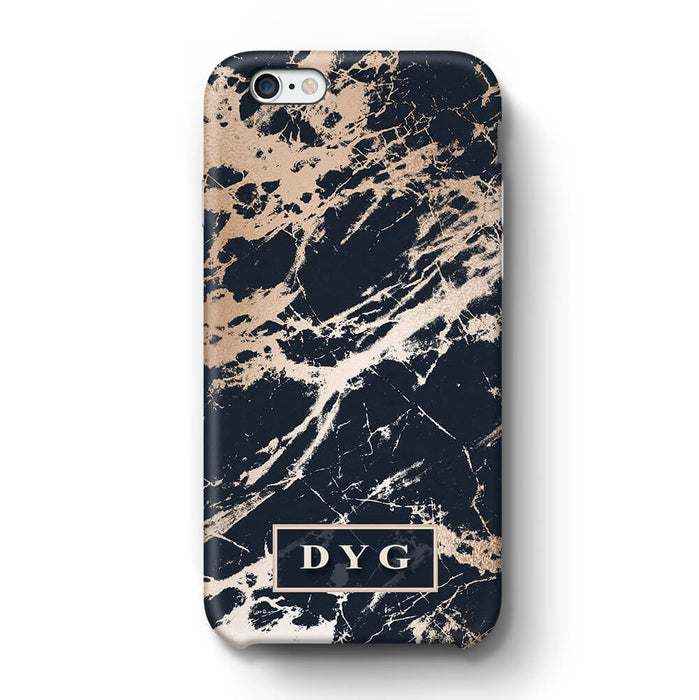 Luxury Gloss Marble With Initials iPhone 6 3D Custom Phone Case black