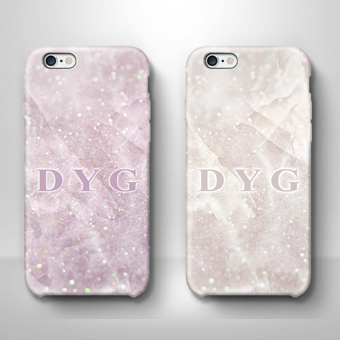 Luxury Glitter Marble With Initials iPhone 6 3D Custom Phone Case variants