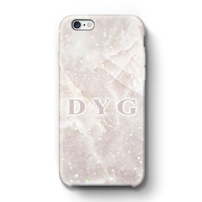 Luxury Glitter Marble With Initials iPhone 6 3D Custom Phone Case white