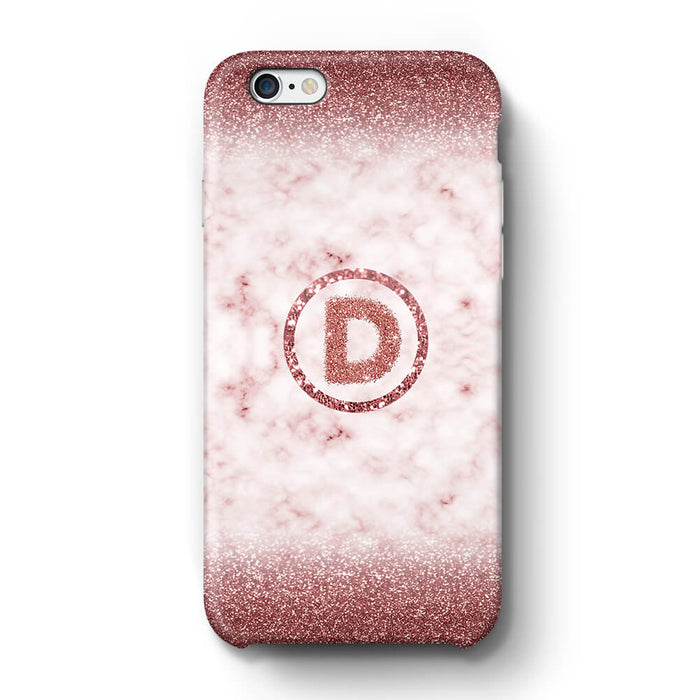 Marble & Glitter With Initial iPhone 6 3D Custom Phone Case rouge