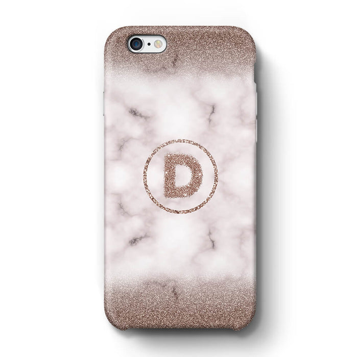 Marble & Glitter With Initial iPhone 6 3D Custom Phone Case sand