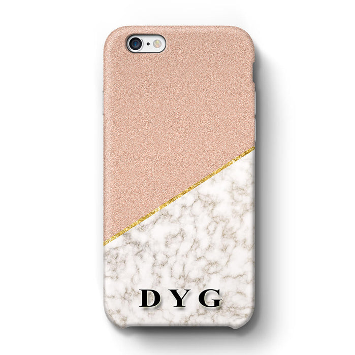 Gold Marble & Glitter With Initials iPhone 6 3D Custom Phone Case peach