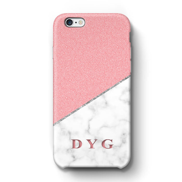 White marble & Glitter With Initial iPhone 6 3D Custom Phone Case pink