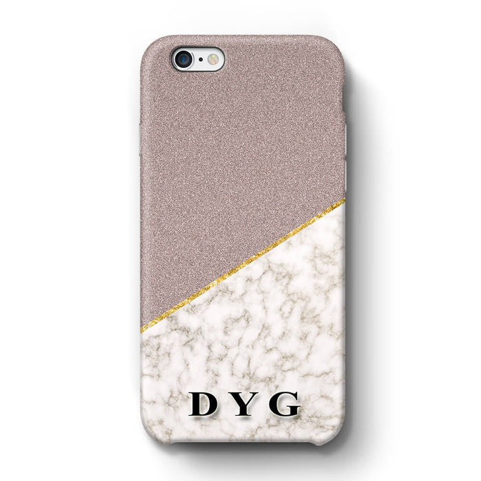 Gold Marble & Glitter With Initials iPhone 6 3D Custom Phone Case purple