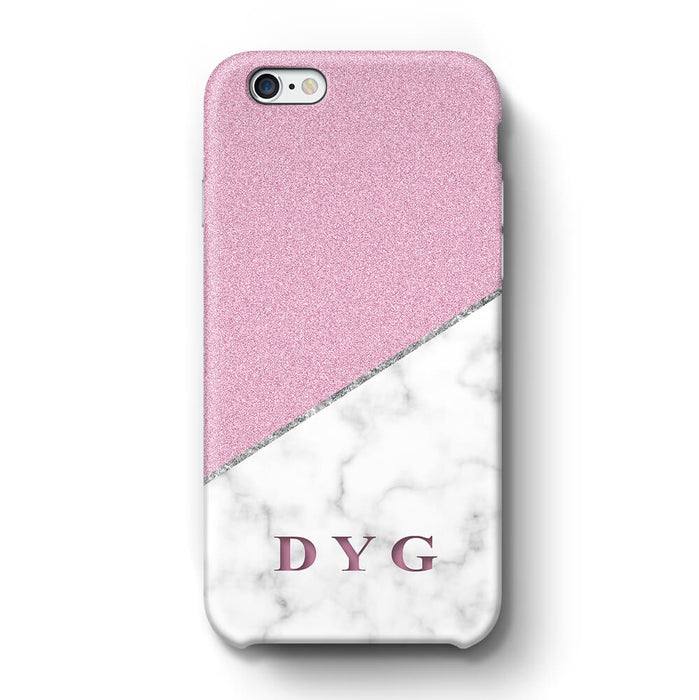 White marble & Glitter With Initial iPhone 6 3D Custom Phone Case purple