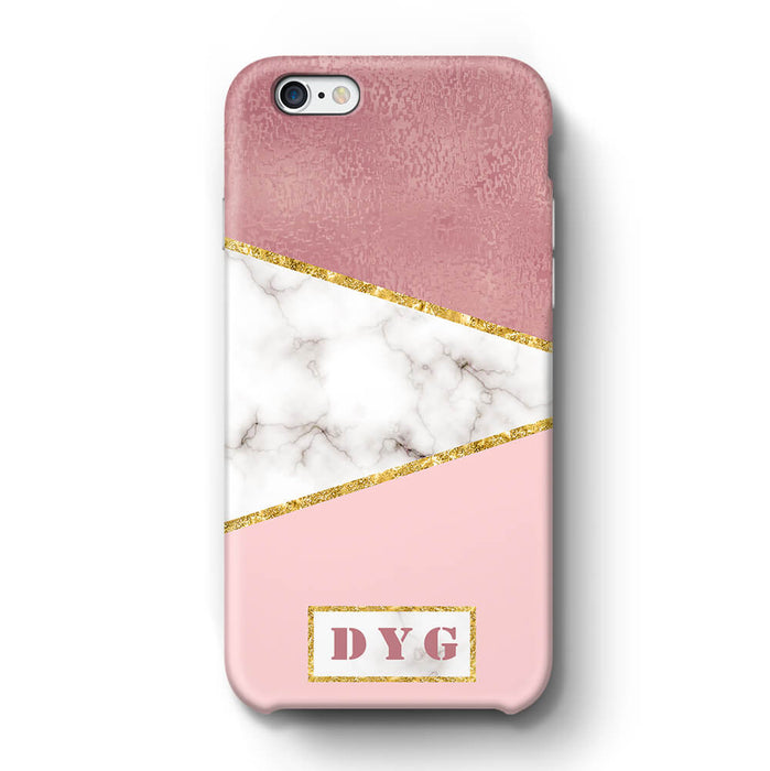 White & Rose marble With Initials iPhone 6 3D Custom Phone Case design 2