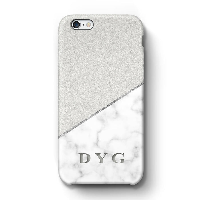 White marble & Glitter With Initial iPhone 6 3D Custom Phone Case silver