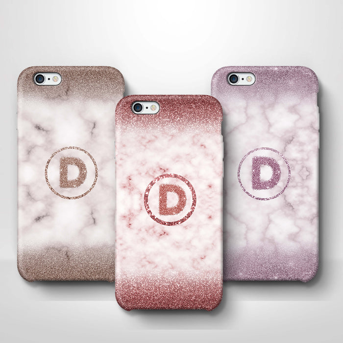 Marble & Glitter With Initial iPhone 6 3D Custom Phone Case variants