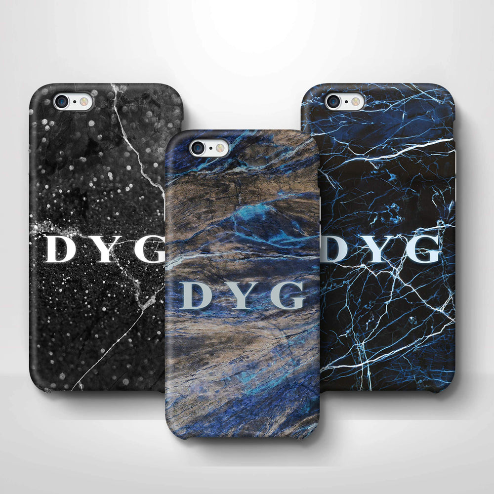 Dark Marble With Initials iPhone 6 3D Custom Phone Case variants