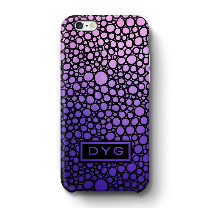 Bubbles Hollow with initials iPhone 6 3D Personalised Phone Case purple