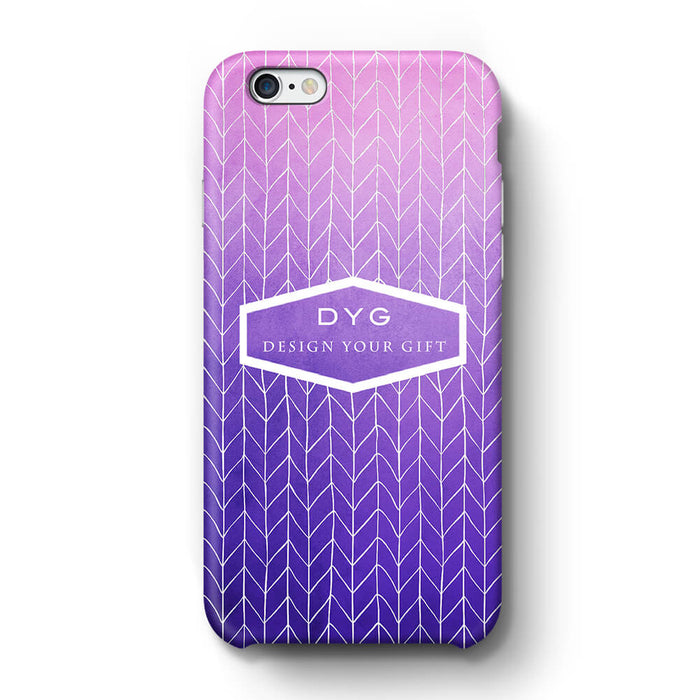 ZigZag Ombre With Text iPhone 6 3D Personalised Phone Case purple