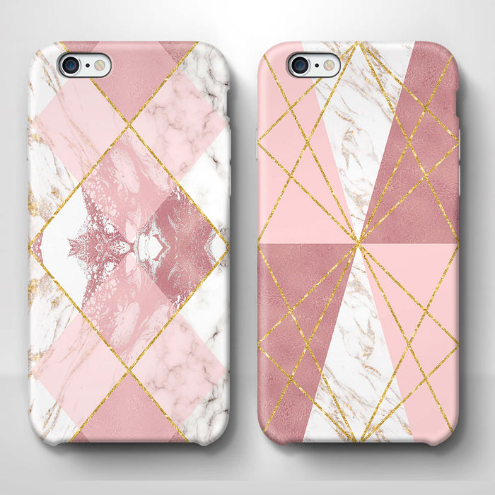 Rose Marble & Geometric Patterns - iPhone 6 3D Phone Case design-your-gift.
