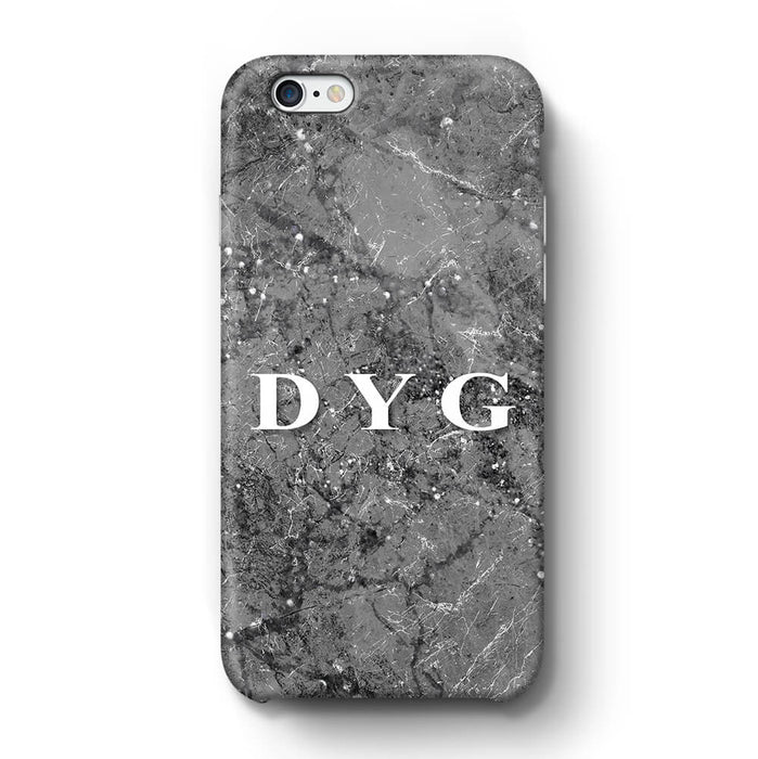 Sparkle Marble With Initials iPhone 6 3D Personalised Phone Case silver mink