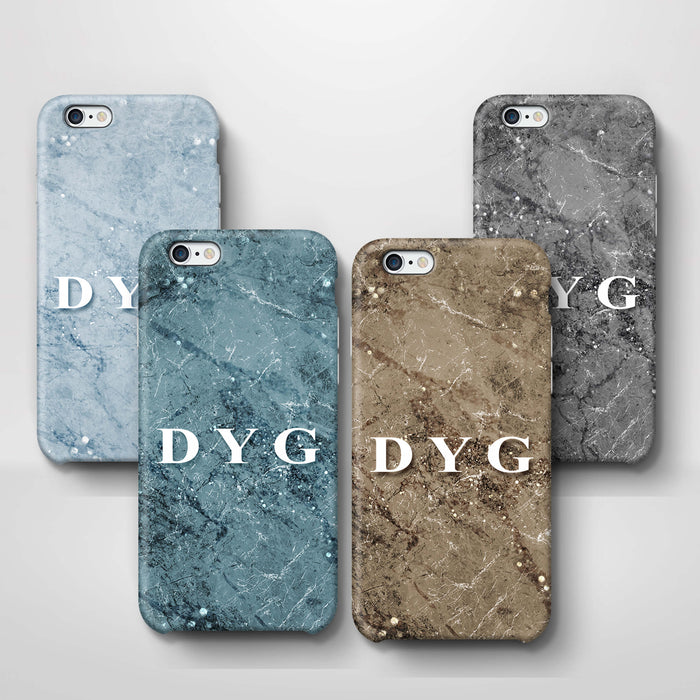 Sparkle Marble With Initials iPhone 6 3D Personalised Phone Case variants