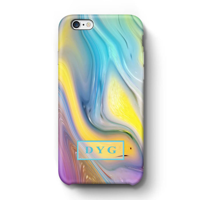 Liquid Marble With Initials iPhone 6 3D Personalised Phone Case sun wave