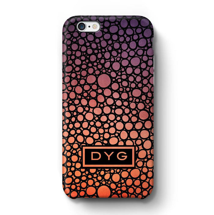 Bubbles Hollow with initials iPhone 6 3D Personalised Phone Case sunset