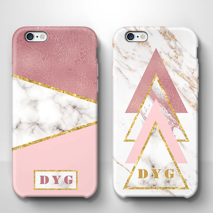 White & Rose marble With Initials iPhone 6 3D Custom Phone Case variants