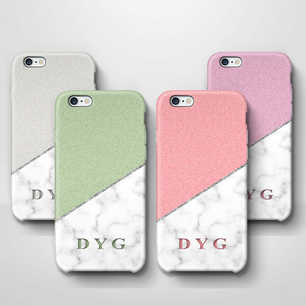 White marble & Glitter With Initial iPhone 6 3D Custom Phone Case variants