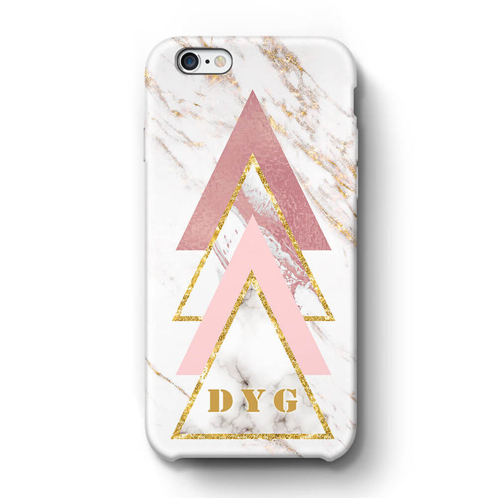 White & Rose marble With Initials iPhone 6 3D Custom Phone Case design 1