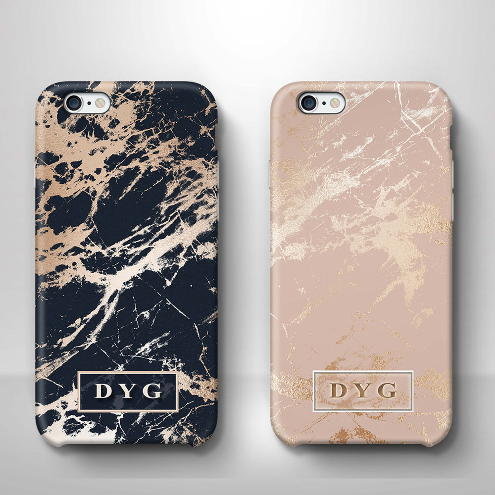 Luxury Gloss Marble With Initials iPhone 6 3D Custom Phone Case variants