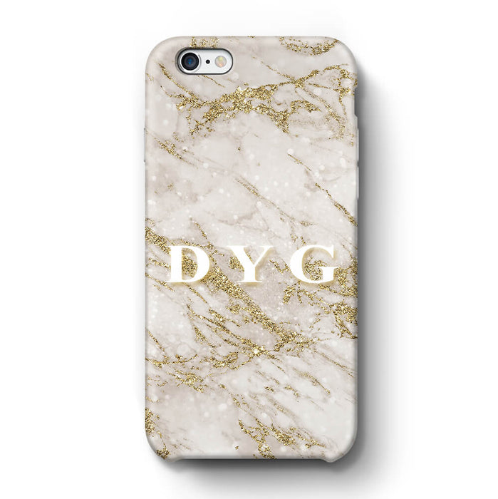 Pearl Marble With Initials iPhone 6 3D Custom Phone Case gold