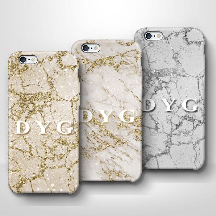 Pearl Marble With Initials iPhone 6 3D Custom Phone Case variants