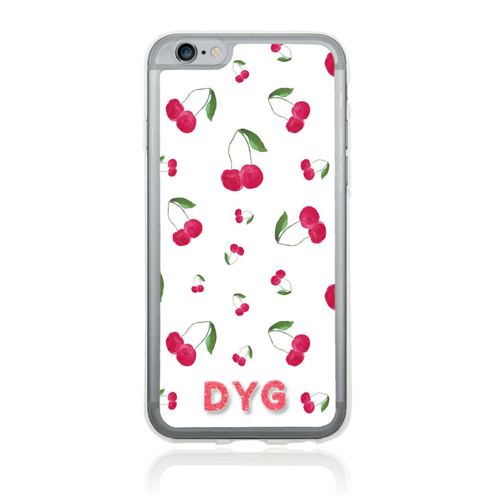 iPhone 6 Clear Phone Case | Initials Case | Fruits Pattern - cherry design