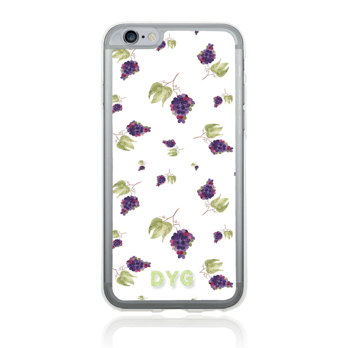 iPhone 6 Clear Phone Case | Initials Case | Fruits Pattern - grapes design