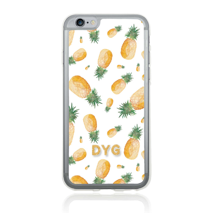 iPhone 6 Clear Phone Case | Initials Case | Fruits Pattern - pineapple design