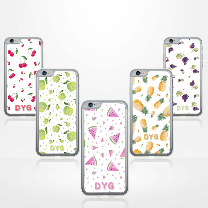 iPhone 6 Clear Phone Case | Initials Case | Fruits Pattern