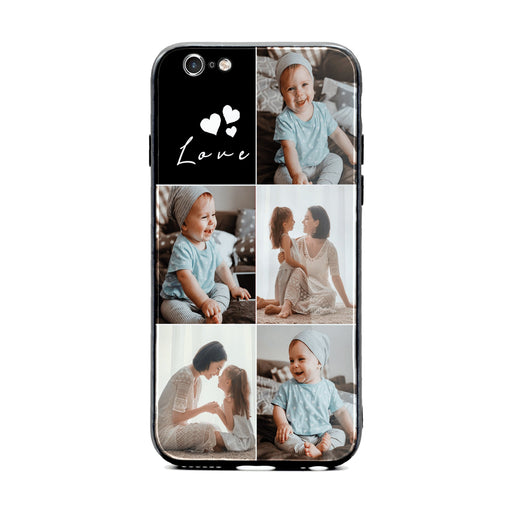 iPhone 6/6s 5 Photo collage with 1 text block Glass phone case