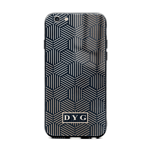 iphone 6/6s glass phone case personalised with initials on a black glossy geometric pattern