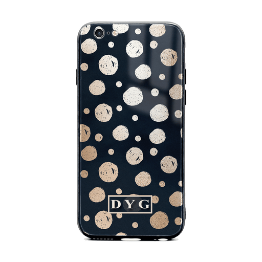 iphone 6/6s glass phone case personalised with initials on a glossy dots design pattern black