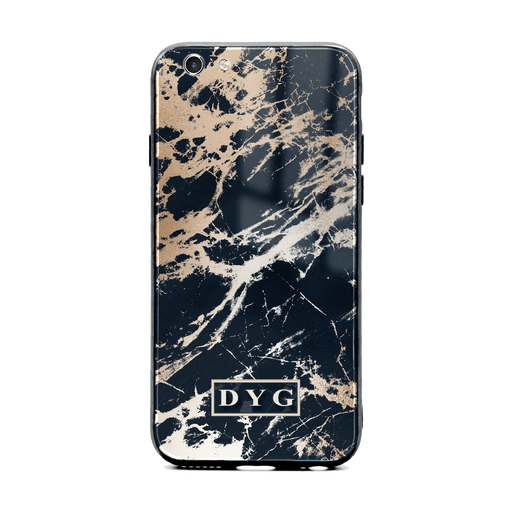 iphone 6/6s glass phone case personalised with initials on black glossy marble
